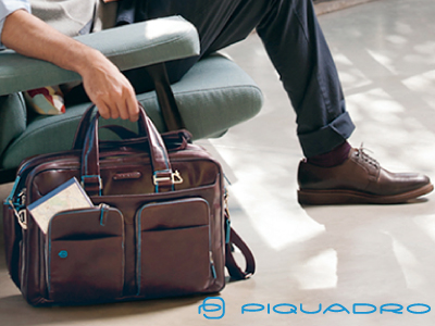 Infographic: Piquadro business bags of Blue Square collection